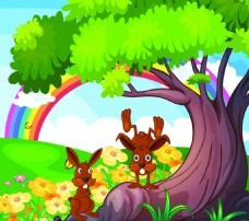 卡通小兔子大树矢量素材