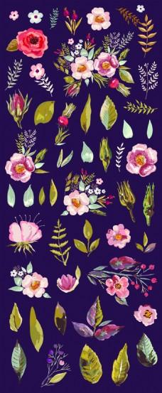 清新水彩绘花朵插画