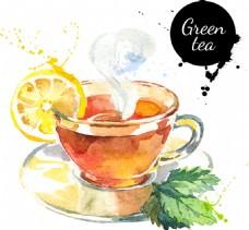 水彩绘柠檬茶