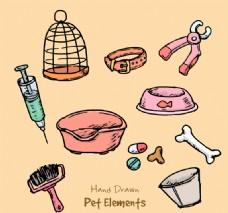 12款彩绘宠物用品设计矢量