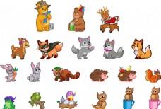 卡通家庭宠物动物素材设计