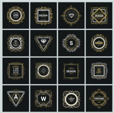 黑色欧式复古华丽装饰Logo设计矢量