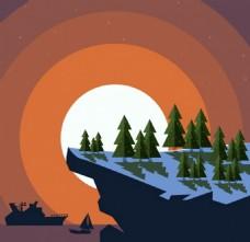 悬崖山顶白色月亮背景图