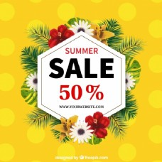 黄色背景虚化的夏季销售背景