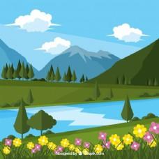 山水花卉背景与山川河流