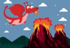 可爱火龙与火山背景图