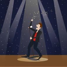 蓝色星空背景舞台歌手背景图