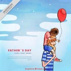 水彩背景的父亲与他的儿子