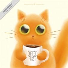 可爱的小猫和一杯咖啡