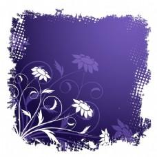 紫色背景的花卉框架