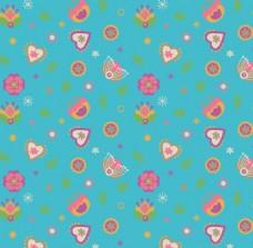 蓝色小女生可爱粉色植物动物图案矢量素材