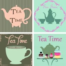 欧式花茶茶壶下午茶矢量