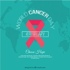世界癌症日绿色背景装饰粉红丝带