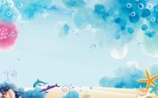 抽象海底世界鱼类生物广告背景