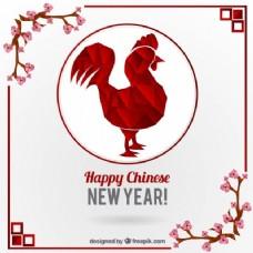 中国新年装饰用多边形公鸡