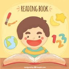 微笑男孩阅读背景