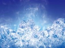 清凉冰块蓝色背景psd分层素材