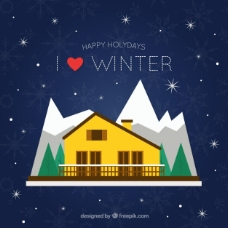 冬天的背景与房子和山在平面设计
