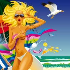 夏日暑假美女海滩背景图