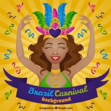 阳光开朗的女人为背景的巴西狂欢节