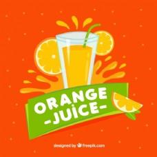 具有绿色细节的橙汁的背景