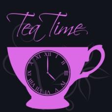 咖啡杯子下午时间茶矢量海报背景