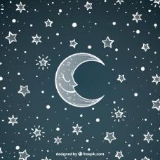 漂亮的月亮背景和手绘的星星