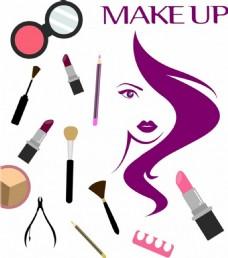 女人与化妆品矢量图