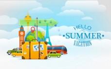 夏天旅行矢量背景