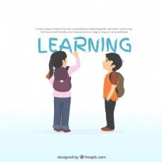 学习背景与女孩写作