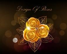 漂亮金色玫瑰花背景图
