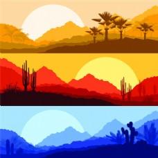 卡通仙人掌棕榈树图片