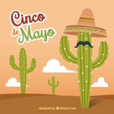Cinco de Mayo的背景与帽子和胡子的仙人掌