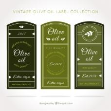 带有白色细节的老式橄榄油标签