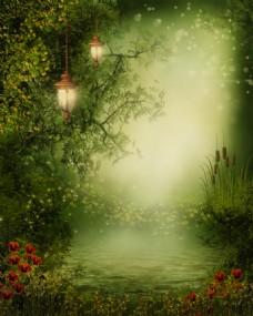 梦幻森林湖泊玄关背景墙装饰画