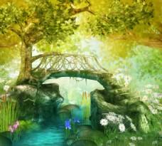 森林溪流上的石桥梦幻背景墙装饰画