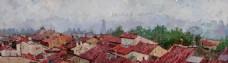 高清风景油画红色琉璃瓦背景墙装饰画