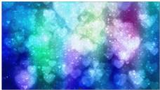 蓝色心形梦幻光斑背景