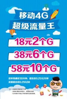 移动4G超级流量王 扁平 海报 红包人