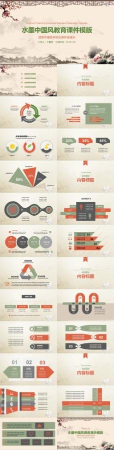 水墨中国风教育课件PPT模版