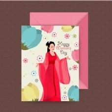 美丽的女人和装饰鲜花贺卡