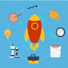 带火箭和商业项目的平面背景