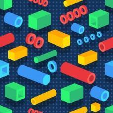 三维彩色抽象几何元素或形状设计。