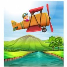 在草地上空飞行的飞机