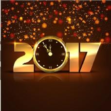有圆形形状的金色新年背景