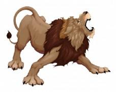 愤怒的狮子在怒吼