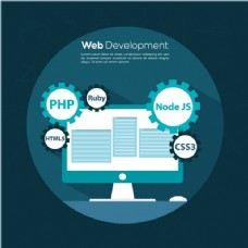 蓝色背景下的网络开发背景