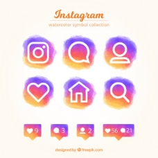 设置丰富多彩的Instagram水彩图标