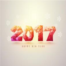 多边形背景雪花新年