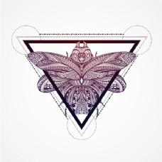 三角形背景中的蝴蝶
